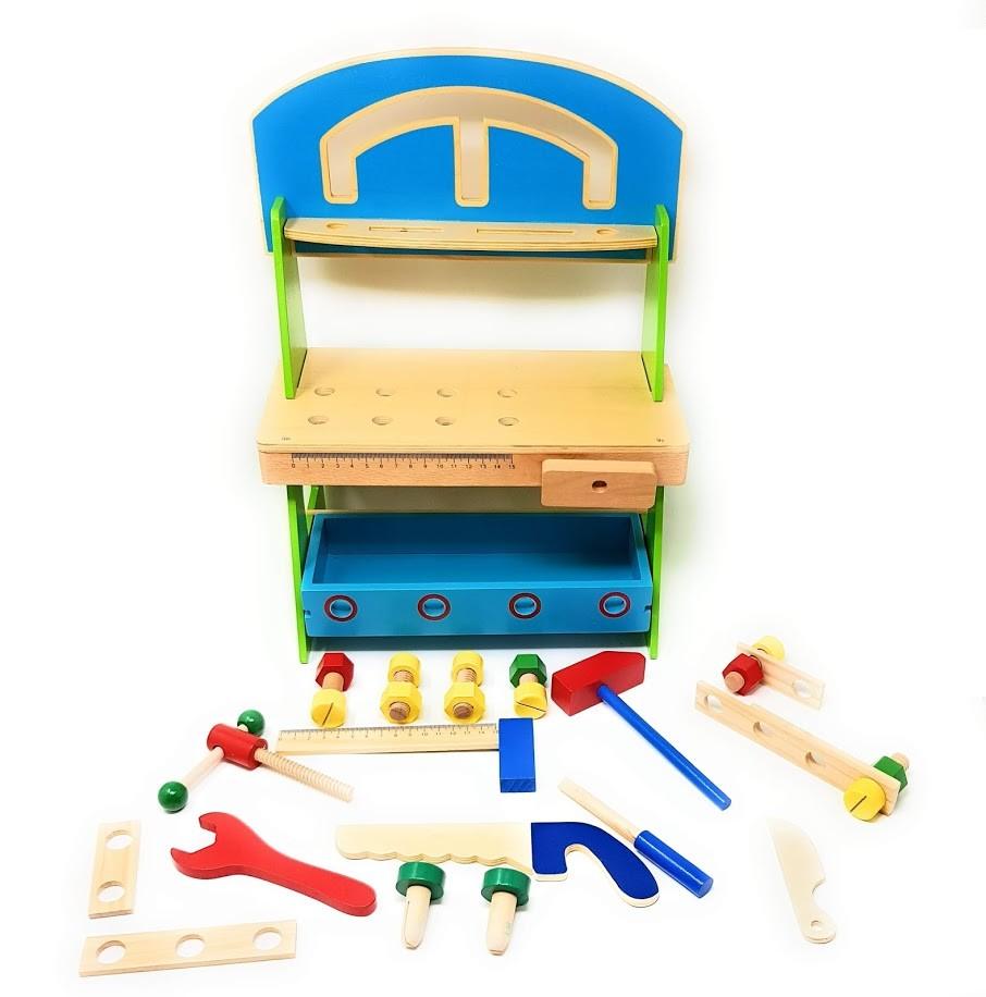 20 Tlg. Profi Kinderwerkbank Werkzeug Werkbank Kinder Holz Kinderwerkzeug  Werkbank Hartholz